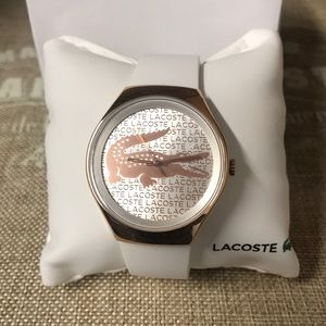 Lacoste rose gold face watch w/box